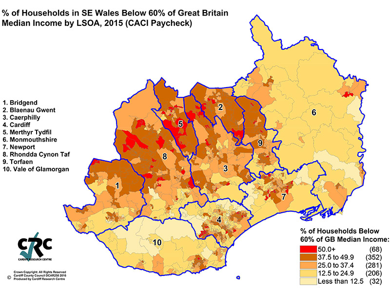 % of Households in SE Wales Below 60% of Great Britain Median In